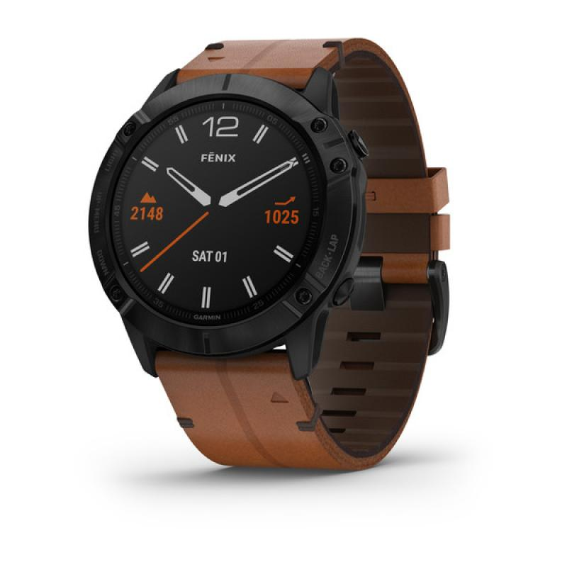 fēnix 6X - Sapphire editions black with brown leather band