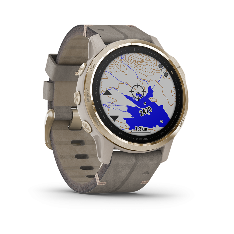 fēnix 6S - Pro Solar Edition | Light gold with shale grey suede band