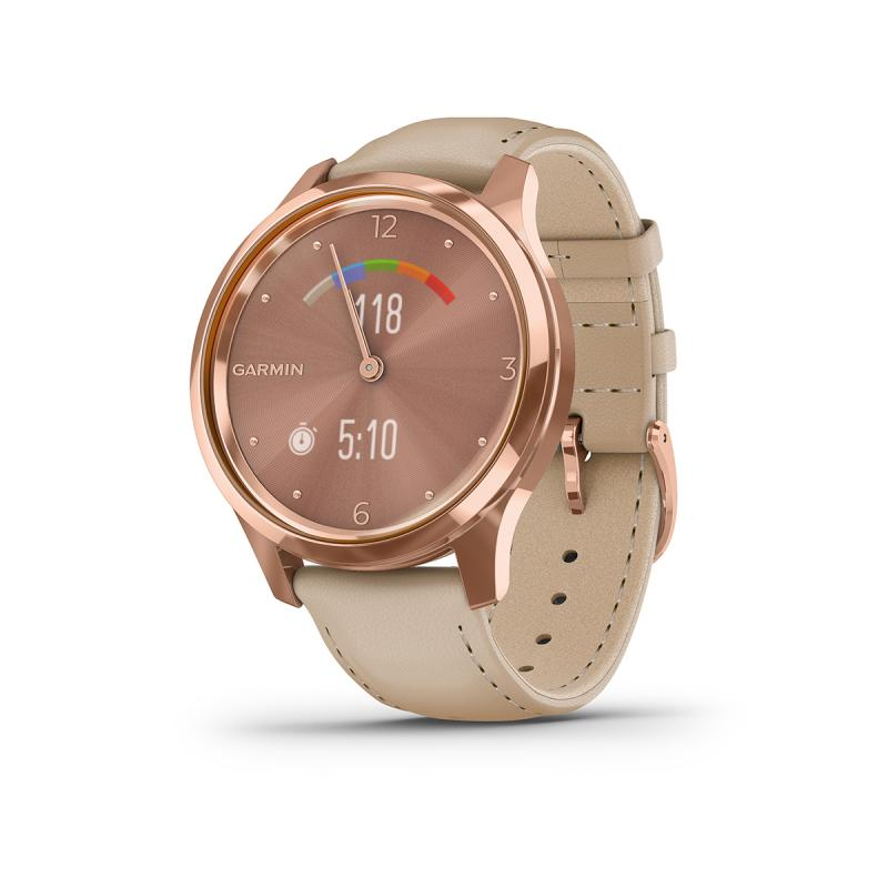 vívomove Luxe , 18K rose gold PVD stainless steel case with light sand Italian leather band