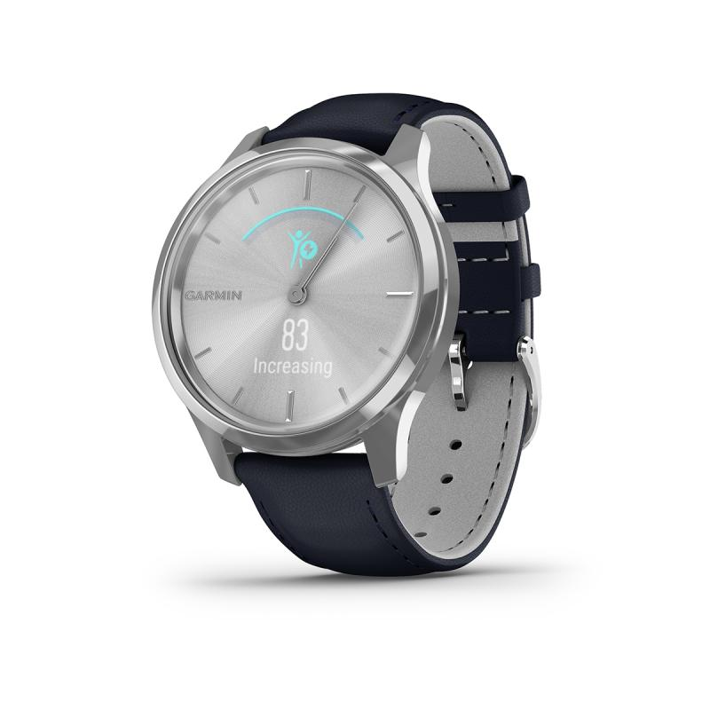 vívomove Luxe , Silver stainless steel case with navy Italian leather band