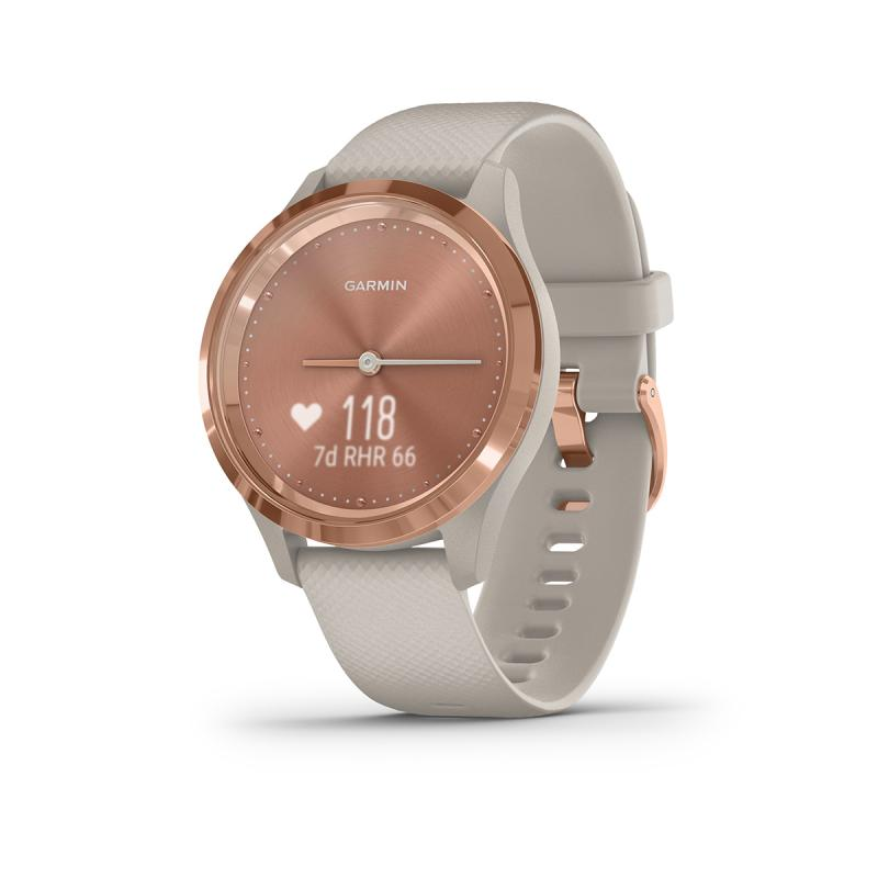 vívomove 3S, Rose gold stainless steel bezel with light sand case and silicone band