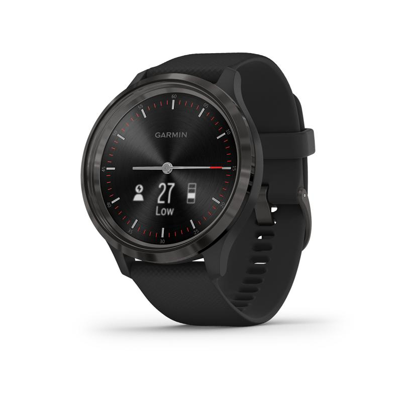 vívomove 3 , Slate stainless steel bezel with black case and silicone band