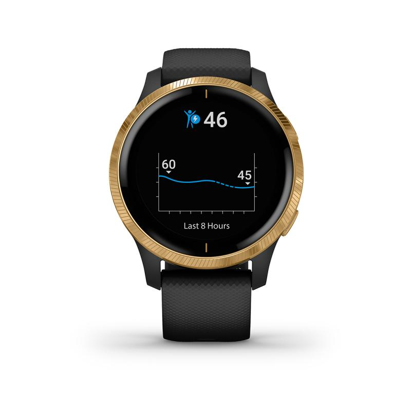 Venu® Gold Stainless Steel Bezel with Black Case and Silicone Band
