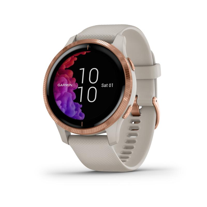 Venu® | Rose Gold Stainless Steel Bezel with Light Sand Case and Silicone Band