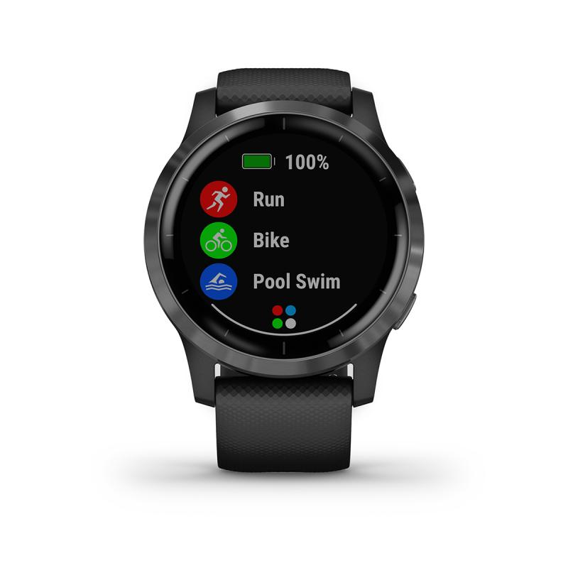 vívoactive® 4 | Slate Stainless Steel Bezel with Black Case and Silicone Band