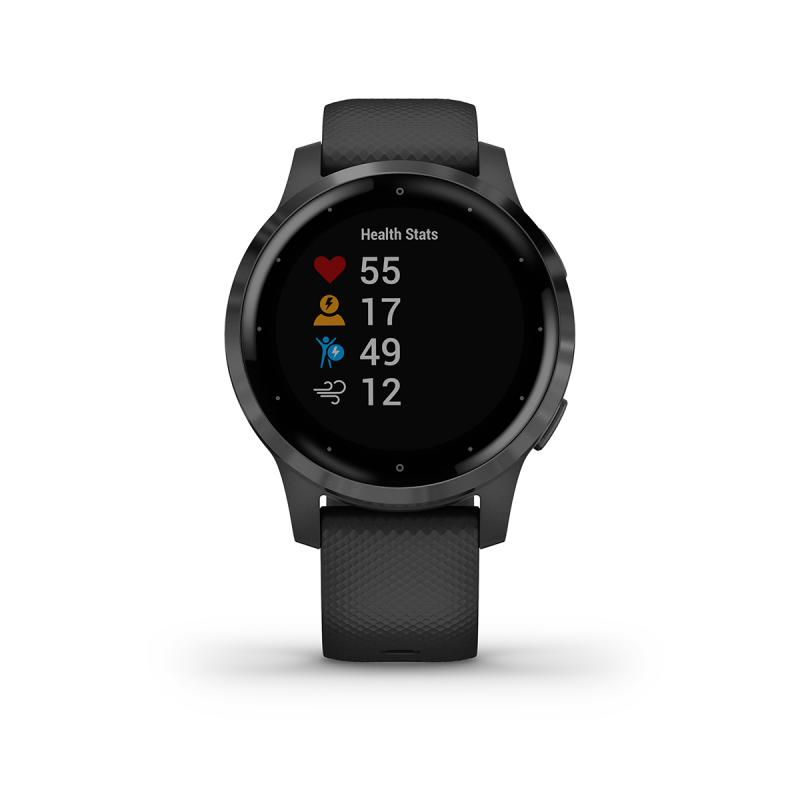vívoactive® 4S| Slate Stainless Steel Bezel with Black Case and Silicone Band