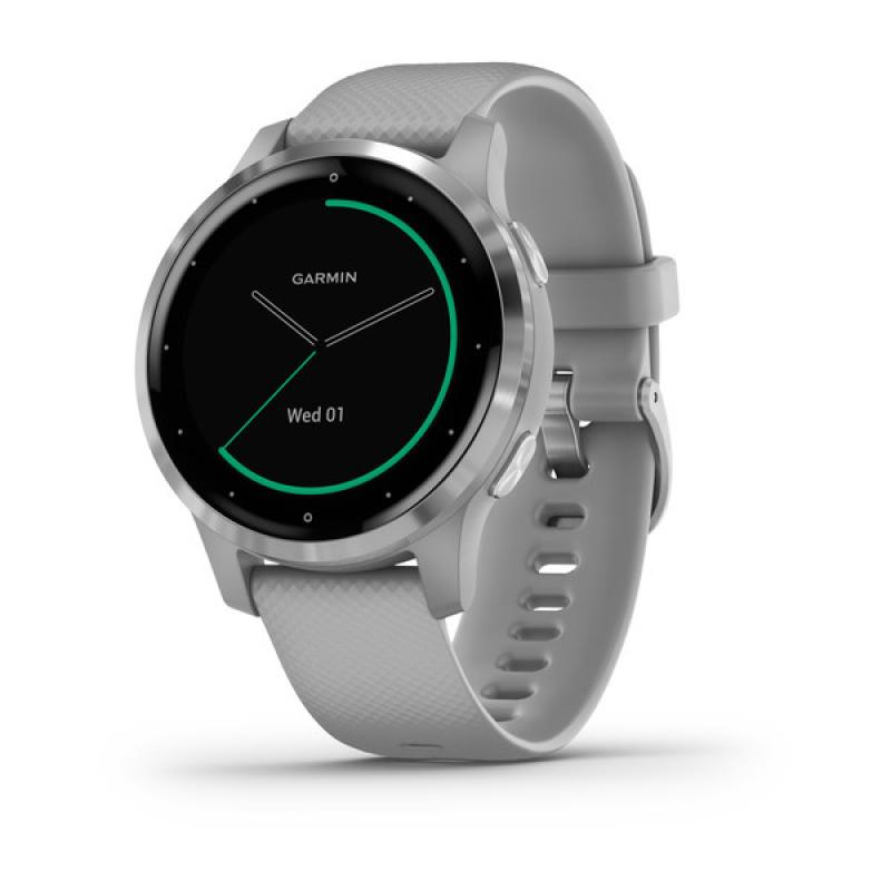 vívoactive® 4S | Silver Stainless Steel Bezel with Powder Gray Case and Silicone Band