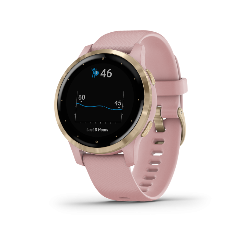 vívoactive® 4S | Light Gold Stainless Steel Bezel with Dust Rose Case and Silicone Band