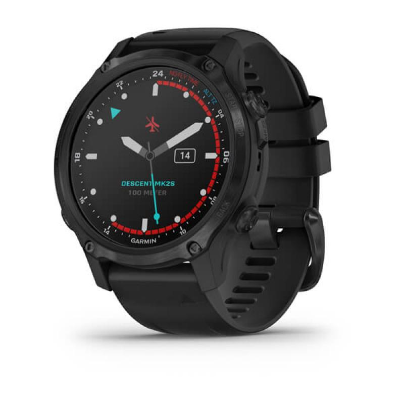 Descent™ Mk2S Carbon Gray DLC with Black Silicone Band